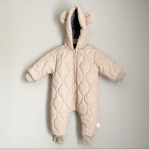 Adorable neutral cream quilted bear snowsuit